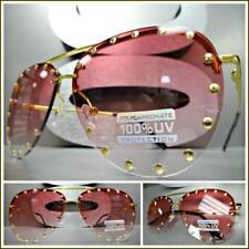 Oversized Vintage Retro Designer Style SUN GLASSES Gold Studded Frame Rose Lens