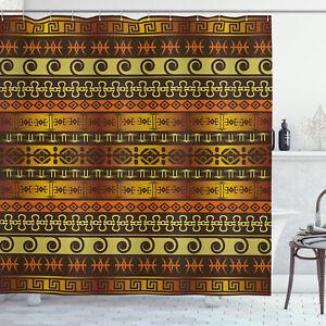 Tribal Shower Curtain Geometric Indigenous Art Print for Bathroom
