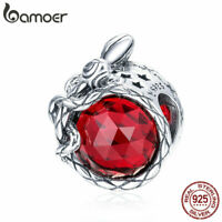 BAMOER Solid S925 Sterling Silver Charm Ruby temptation Bead DIY for Bracelet