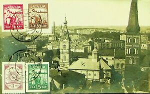 LATVIA GENERAL VIEW OF RIGA USED PPC WITH 4v IMPERF STAMPS