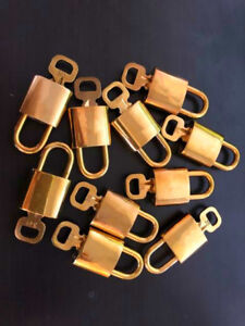 AUTHENTIC letter new high quality Lock & Key Brass Keepall Padlock Charm Gold
