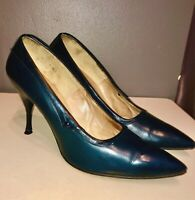 VTG 50'S JOSEPH*CLASSIC PIN-UP! NAVY BLUE SMOOTH LEATHER POINTY PUMP HEELS*7.5-8