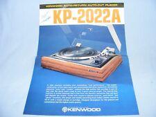 BROCHURE DI VENDITA PER KENWOOD KP-202A HIFI STEREO giradischi record, DOC originale.