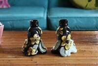 Pair of Retro Hawaiian Candle Holders, Black, Yellow, Green Ceramic Holland Mold
