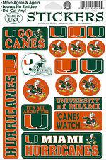 Miami Hurricanes Vinyl Die-Cut Sticker Decals - 18 per sheet