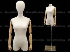 Female Body form Linen Foam Pure White with head and arm #F1WLARM-JF+BS-05