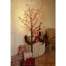 6ft Christmas Berry Twig Tree Pre Lit LED Warm White Lights Indoor & Outdoor Use
