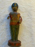 Vintage J Chein Tin Litho Wind Up Drummer Soldier Toy  ~ For Parts Or Repair