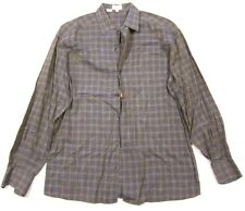 Zanella Made in Italy Cotton Button Down Shirt Bronze Brown Plaid sz L