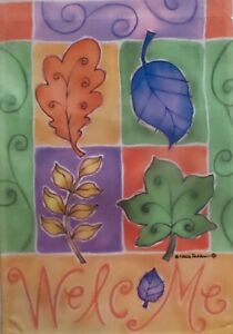 Swirling Leaves Garden Flag by Toland #1595 Fall Welcome