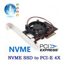 Pci-E 3.0 X4 Lane Host Adapter Converter Card M.2 M Key Ssd To Nvme+Fan