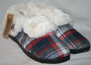 LADIES CHECKED SLIP ON SLIPPER WITH FAUX FUR SOCK & LINING RED / NAVY UK 7
