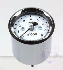 Drehzahlmesser elektronisch - Motorrad - 48 mm - 8000 - Ziffernblatt weiss