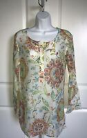 Athleta Floral Cotton & Silk Tunic Small Semi Sheer Lightweight Coverup Popover
