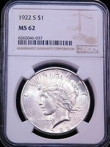 1922 S Peace Silver Dollar NGC MS62 Blast White Great Frosty Luster PQ #G683