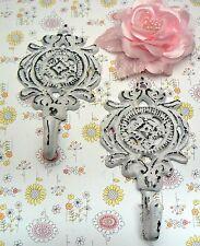 Medallion Shabby Cottage Chic Pair Set Hooks Floral Nursery Bathroom Leash White