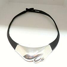 556.Lapponia Finnland 925 Silber / Leder Collier Halskette G8 für 1984 TOP