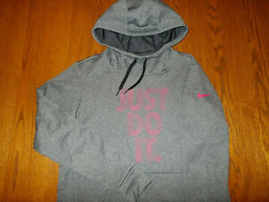 NIKE JUST DO IT HEATHER GRAY HOODED SWEATSHIRT WOMENS MEDIUM EXCELLENT CONDITION