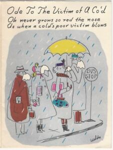 Rosalind Welcher Artist Signed Get Well Soon Humorous Cartoon Greeting Card