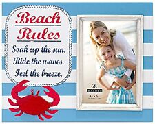 Beach Rules Picture Frame Wood Crab Summer Striped Nautical Cottage 4x6 Blue