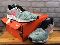 NIKE MENS UK 11 EU 46 ZOOM PEGASUS 35 RUNNING TRAINERS GREY GREEN PINK RRP £105C