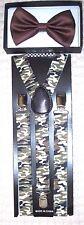 Brown Adjustable Bow Tie&Army Marines Camo Camouflage Adjustable Suspenders-New!