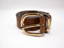 Mens Brown Leather Belt Size 34 With Gold Buckle