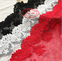 1yard,delicate white embroidered flower tulle lace trim DIY sewing wide13cm FL36