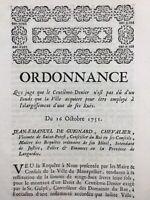 Montpellier en 1751 Élargissement d'une Rue M de Belleval Saint Priest Languedoc