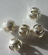 bigiotteria 10 Perle Metalliche 8 mm Colore Argento zwischenperle sabbia