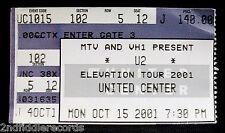 U2-Original Elevation Tour 2001 Concert Ticket-United Center Chicago-Bono