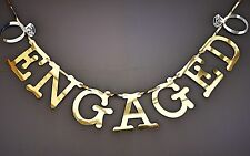ENGAGEMENT BANNER GOLD MIRROR SHINY .ENGAGEMENT PARTY DECORATION.WITH RINGS.