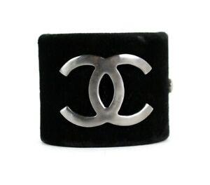 CHANEL 13B Black Velvet & Silver Metal Logo Hinged Cuff Bracelet