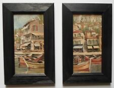 Framed print french provincial italy boats cafe restaurant picture frame