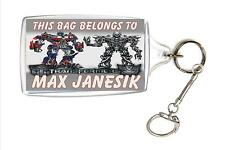 Personalised Transformers School Bag Lunch Box Name Tag