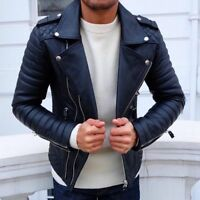 New Men's Genuine Lambskin Leather Jacket Moto Biker Slim Fit Cafe Racer Coat