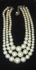 Vintage JEWELRY Part/Repair 3-Strand Collar Necklace Faux Pearl Graduated beads