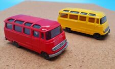 Wiking Model 319 1:87 Scale Vintage Mercedes Bus Red and Yellow TWO PACK MINT