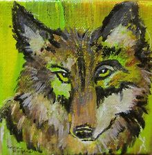 Original Wolf Acrylic Painting Miniature Wrap-Around Canvas Lime Green
