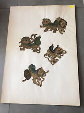 Antique Chinese Foo Dog Embroidery Sample