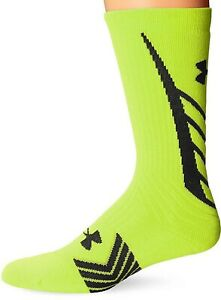 Under Armour 267025 Men's All Sport Crew Socks Neon Yellow Size Large
