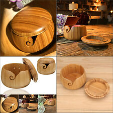 Wooden Bamboo Yarn Bowl Holder With Lid Knitting Tool Crochet Wool Storage