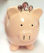 PINK PRINCESS BALLERINA PIGGY BANK MONEY COIN SAVE DECORATIVE CROWN TUTU PIG
