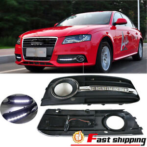 Fit Audi A4 2009-2012 Front White LED Daytime Running light Fog Lamps Pair Cover