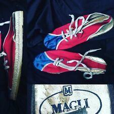 Rare Bruno Magli 70s 80s Vtg Platform Espadrille Flat Satin Sneaker Shoe Size 40