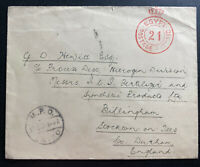 1934 Military Post Office Cairo Egypt Free Postage Cover To Bellingham England