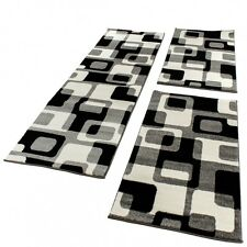 Bettumrandung Läufer Teppich Retro Design Grau Schwarz Weiss Läuferset 3 Tlg.