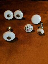 Lot of 6 Vintage Drawer Pulls Ceramic/Porcelain White Mixed