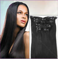 "15"" 18"" 20"" 22"" 24"" 26"" 28"" 30"" Full Head Clip In Remy Human Hair Extensions"