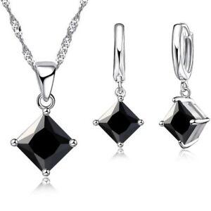 Rhombus Simple Jewellery Set Earrings Pendant Necklace Ladies + GIFT BOX